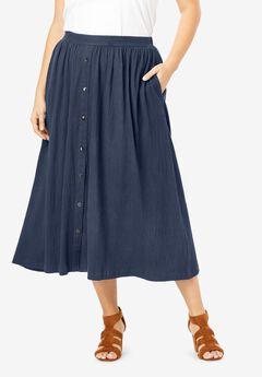 Button-Front Textured Skirt, NAVY