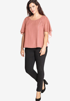 Ruffle Crinkle Blouse with Butterfly Sleeves ,
