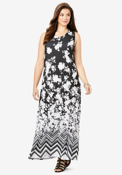 Ultrasmooth® Print Maxi Dress, BLACK FLORAL PLACEMENT