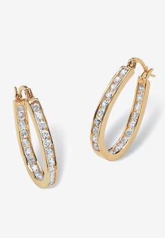Gold Tone Inside Out Hoop Earrings,