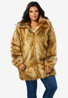 Short Faux-Fur Coat, FOX