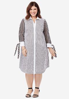 Tie-Sleeve Kate Shirtdress, BLACK BLUSH STRIPE
