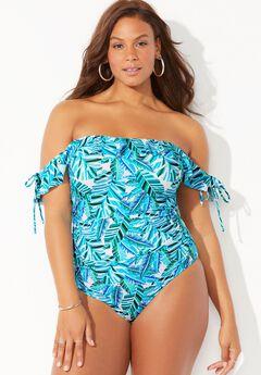Bandeau Ruffle One Piece Swimsuit,