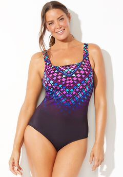Chlorine Resistant Lycra Xtra Life Scoop Cross Back One Piece Swimsuit,