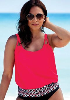 Loop Strap Blouson Tankini Top,