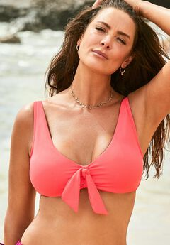 Ashley Graham Underwire Tie Front Bikini Top,