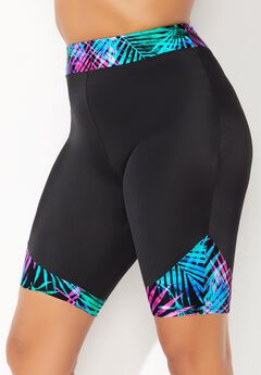 Chlorine Resistant Printed Swim Bike Short, PALM