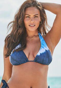 Ashley Graham Elite Triangle Bikini Top, NAVY TIE DYE