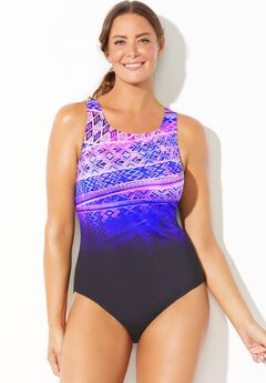 Chlorine Resistant Lycra Xtra Life High Neck One Piece Swimsuit,