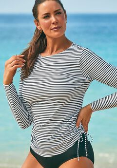 Side-Tie Adjustable Long Sleeve Swim Tee,