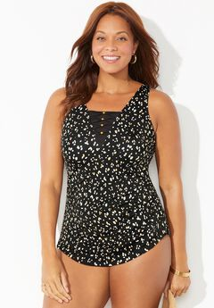 Lattice Sarong Front One Piece Swimsuit,