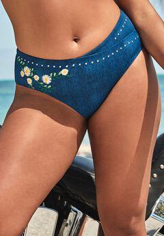 Ashley Graham Revere High Waist Bikini Bottom, DENIM