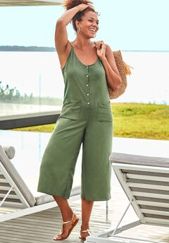 Brittany Button Front Jumpsuit Cover Up,