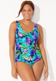 Chlorine Resistant V-Neck One Piece Swimsuit,