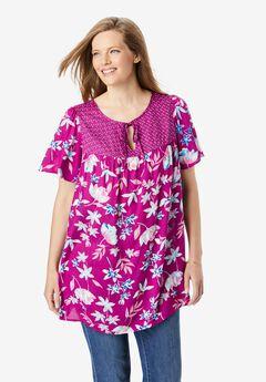 Mix Print Flutter Sleeve Top,