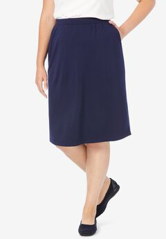 Ponte Knit Knee-Length Skirt,