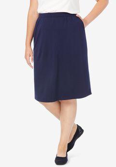 Ponte Knit Knee-Length Skirt,