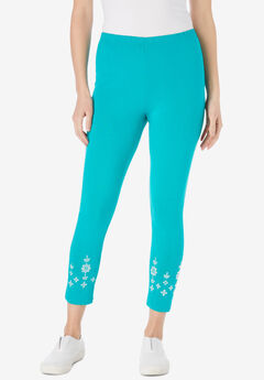 Stretch Cotton Knit Embroidered Legging,