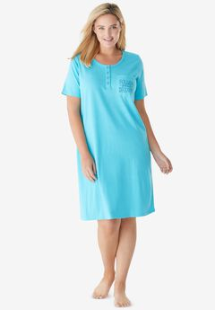 Cotton Sleepshirt , CARIBBEAN BLUE DREAMS
