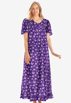 Long Floral Print Cotton Gown, PLUM BURST BOUQUET