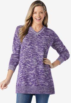 Marled V-Neck Pullover Sweater,