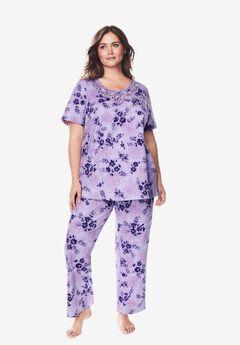 Lace-Trim Tee Pajama Set ,