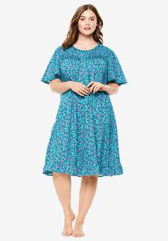 Short Floral Print Cotton Gown ,