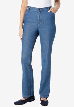 Side-Elastic Straight Leg Cotton Jean,
