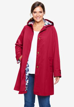 Printed Lining Hooded Raincoat,