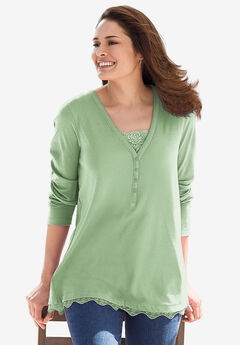Ribbed Layered-Look Lace-Trim Tee,