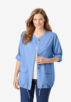 Collarless Linen Jacket,