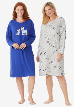 2-Pack Long-Sleeve Sleepshirts , ULTRA BLUE DOGS