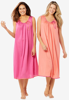 2-Pack Sleeveless Nightgown , SWEET CORAL PARADISE PINK