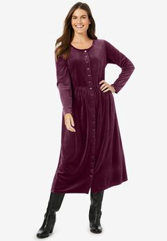 21-Button Velour Dress,