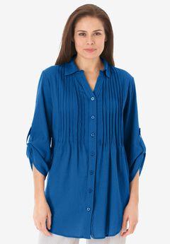 Pintucked Button Down Gauze Shirt,