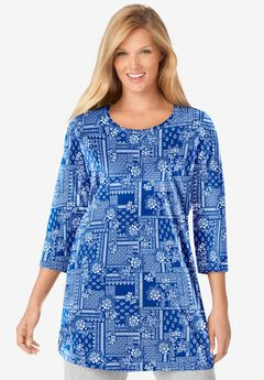 Perfect Printed Three-Quarter-Sleeve Scoop-Neck Tunic,