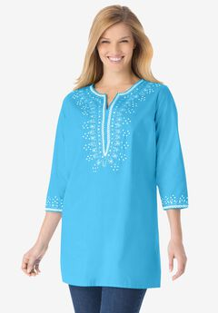 Sequined cotton tunic,
