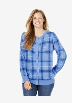 Perfect Long Sleeve Cardigan, FRENCH BLUE PLAID
