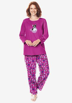 Long Sleeve Knit PJ Set , RASPBERRY DOG