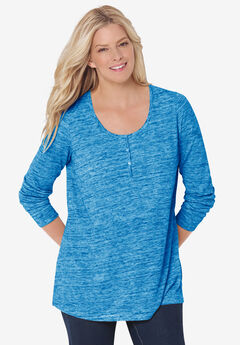 Marled Jersey Henley Tunic,