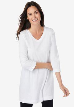 Longer Length Three-Quarter Sleeve V-Neck Tunic,