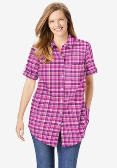 Short Sleeve Button Down Seersucker Shirt, RASPBERRY LOVELY PLAID (YARN-DYE)