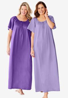2-Pack Long Silky Gown , PLUM BURST SOFT IRIS