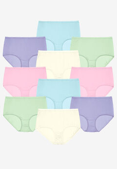 10-Pack Pure Cotton Full-Cut Brief , PASTEL PACK