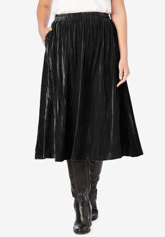 Crinkled Velour Panne Skirt,