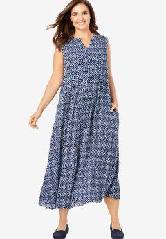 Sleeveless Pintuck Crinkle Dress, NAVY BATIK GEO