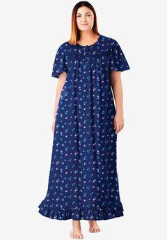 Long Floral Print Cotton Gown, EVENING BLUE FLOWERS