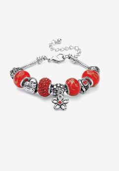 "Bali Style Red Crystal Charm 8"" Bracelet in Silvertone,"