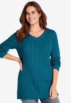 Cable Knit V-Neck Pullover Sweater, DEEP TEAL
