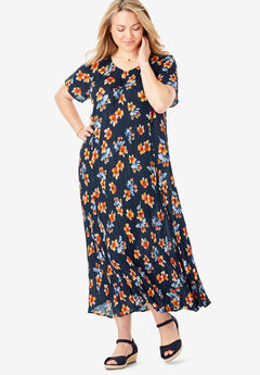 Crinkle Dress, NAVY BOUQUET FLORAL